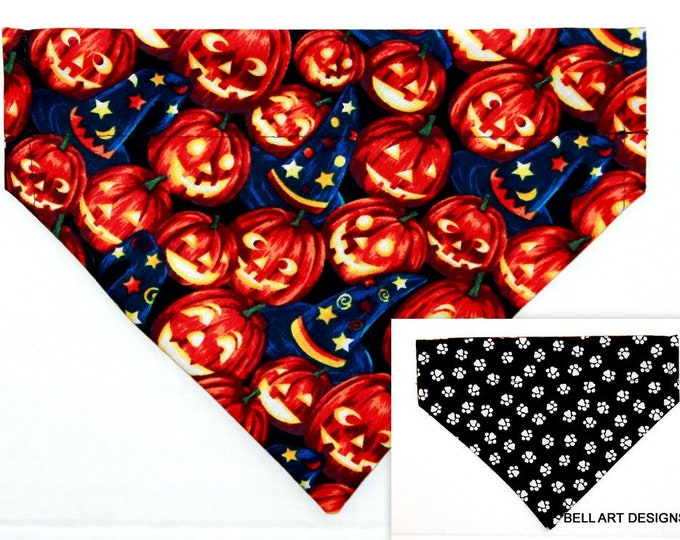 HALLOWEEN ~ Pumpkins, Paws, Over the Collar ~ Reversible ~ Dog Pet Bandana ~ Bell Art Designs ~ Medium DCM0757