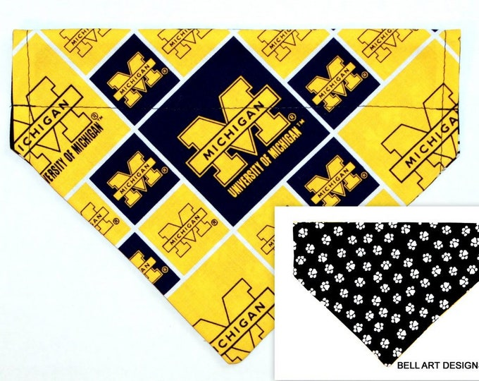 Michigan , Over the Collar ~ Reversible ~ Dog Pet Bandana ~ Bell Art Designs ~ Medium 816