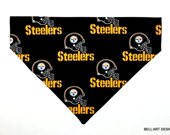 PITTSBURGH STEELERS ~ Over the Collar ~ Reversible ~ Dog Pet Bandana ~ Bell Art Designs