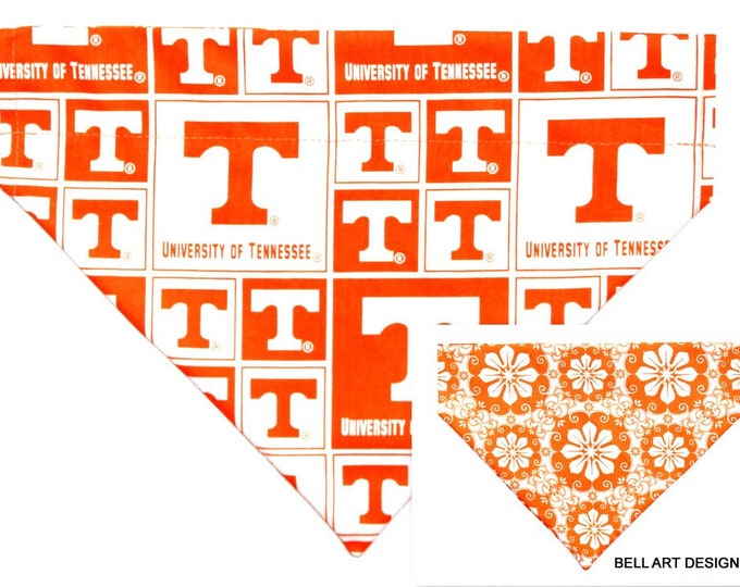 UNIVERSITY TENNESSEE, Over the Collar ~ Reversible ~ Dog Pet Bandana ~ Bell Art Designs ~ Large DCL745