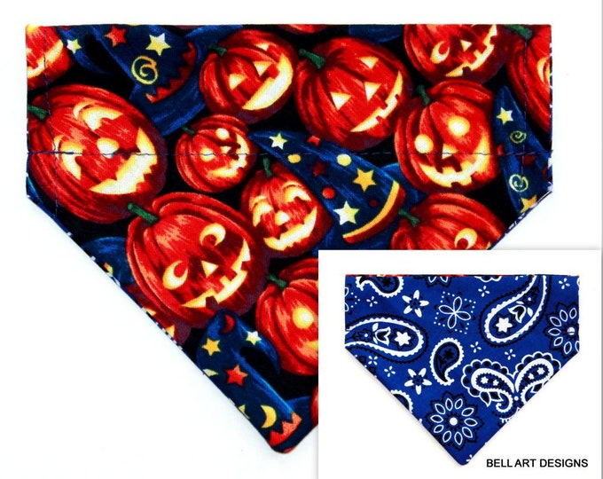 DOG BANDANA ~ Over the Collar ~ Reversible ~ Halloween, Pumpkins ~ Bell Art Designs ~ Extra Small 504