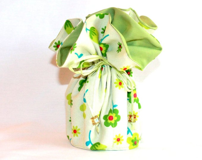 FLORAL Fabric Jewelry Organizer ~ Pouch ~ Storage Case ~ Bag ~ Tote - Bell Art Designs ~ Large JBLG0089