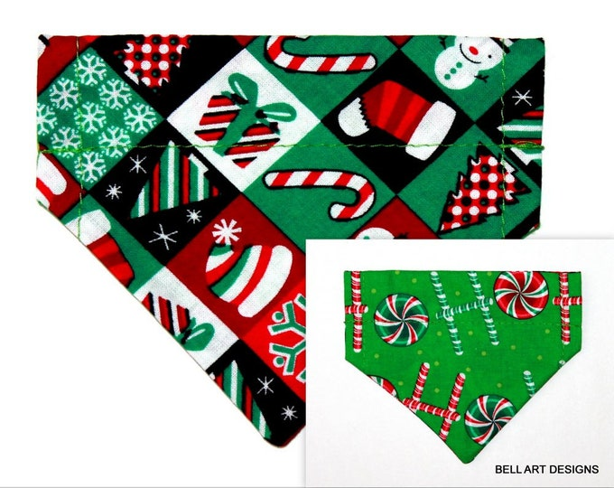 CHRISTMAS ~ Over the Collar ~ Reversible ~ Dog Pet Bandana ~ Bell Art Designs ~ Extra Extra Small DCXXS141