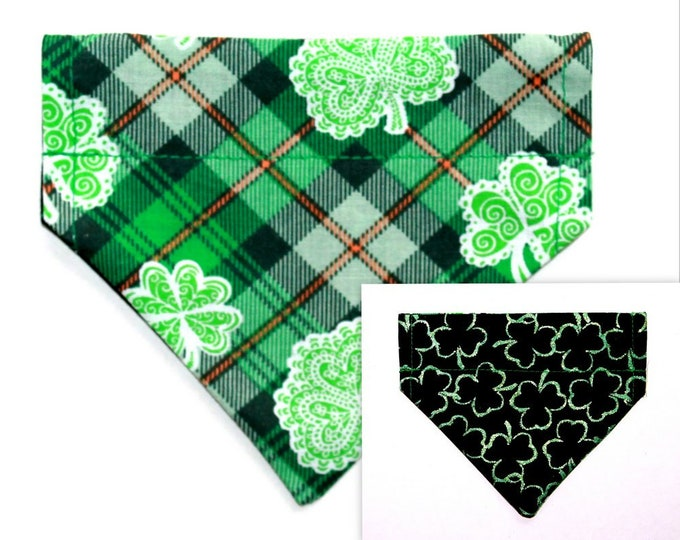 SHAMROCKS ~ Over the Collar ~ Reversible ~ Dog Pet Bandana ~ Bell Art Designs ~ Extra Extra Small DCXXS172