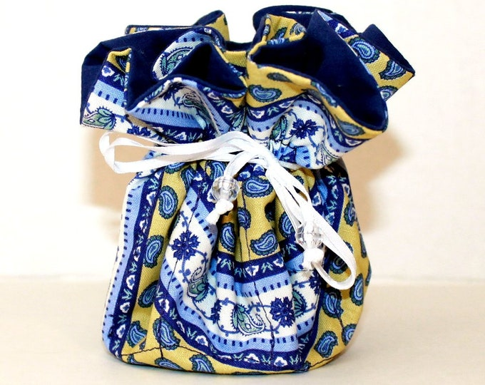 BLUE PAISLEY, Fabric Jewelry Organizer ~ Pouch ~ Storage Case ~ Bag ~ Tote - Bell Art Designs ~ Medium JBMD0447