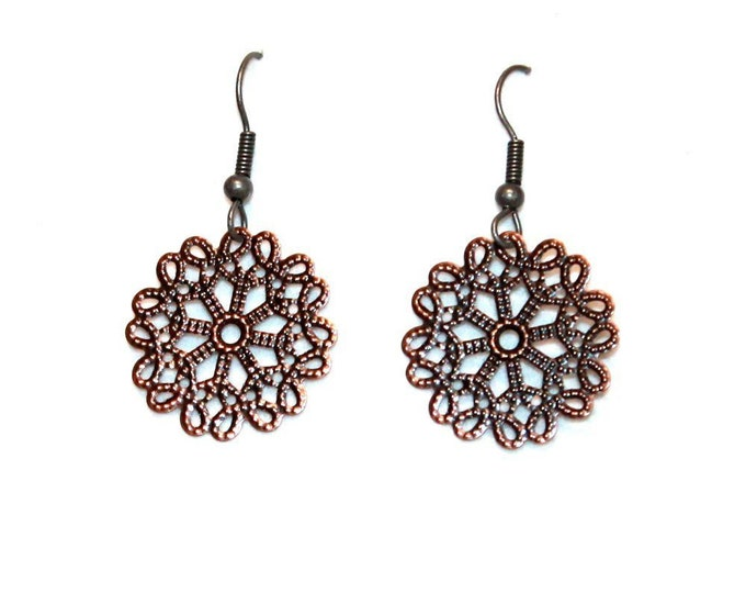 Flower Metal Earrings, Dangle Earrings, Bell Art Designs 150