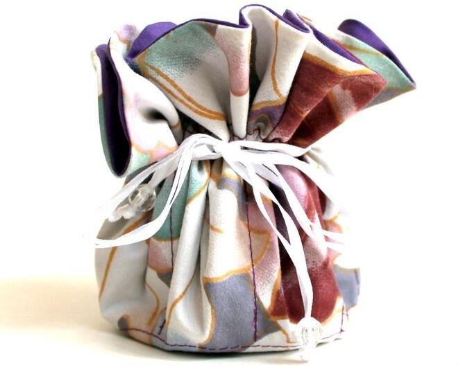 PURPLE FLORAL, Fabric Jewelry Organizer ~ Pouch ~ Storage Case ~ Bag ~ Tote - Bell Art Designs ~ Medium JBMD0442