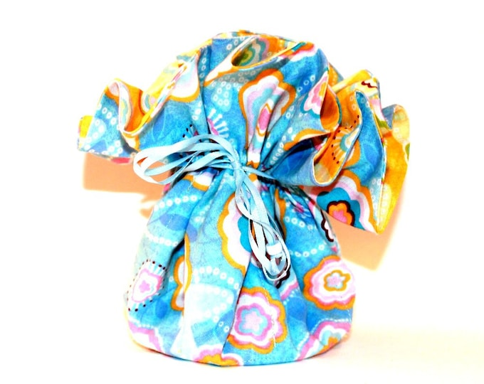 BLUE YELLOW FLORAL Fabric Jewelry Organizer ~ Pouch ~ Storage Case ~ Bag ~ Tote - Bell Art Designs ~ Large JBLG0032