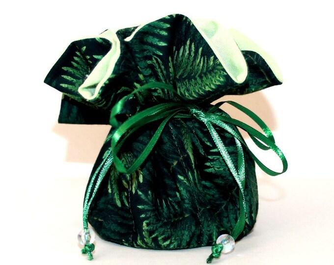 GREEN FERN, Fabric, Jewelry Organizer ~ Pouch ~ Storage Case ~ Bag ~ Tote - Bell Art Designs ~ Medium 446