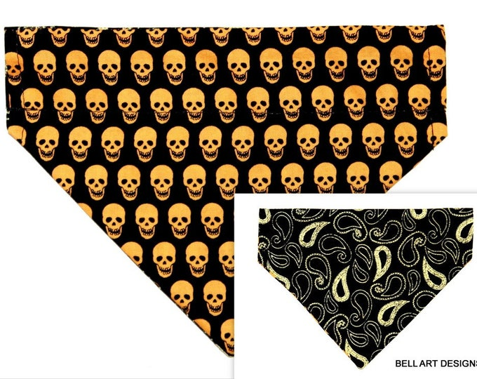 DOG BANDANA ~ Over the Collar ~ Reversible ~ Gold Skulls and Paisley ~ Bell Art Designs ~ Small DCS581