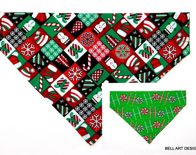 Christmas, Candy, HOHO ~ Over the Collar ~ Reversible ~ Dog Pet Bandana ~ Bell Art Designs ~ Large ~ 605