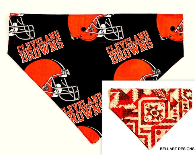 Cleveland Browns ~ Over the Collar ~ Reversible ~ Dog Pet Bandana ~ Bell Art Designs ~ Large 508