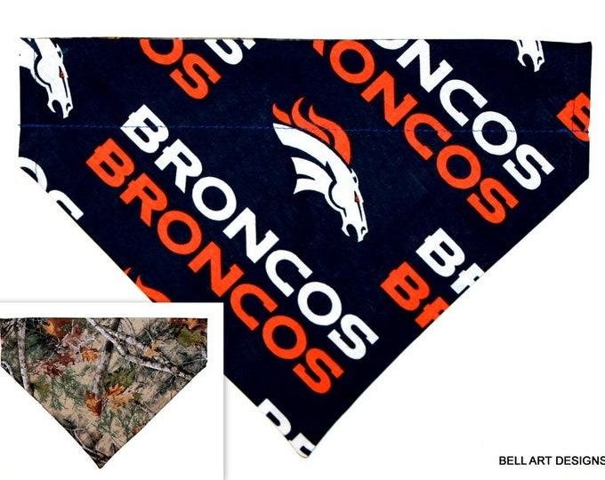BRONCOS ~ Over the Collar ~ Denver, Reversible ~ Dog Pet Bandana ~ Bell Art Designs ~ Large 805