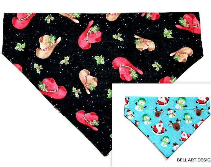 Christmas, Cowboy Hats, Santa ~ Over the Collar ~ Reversible ~ Dog Pet Bandana ~ Bell Art Designs ~ Large ~ 478