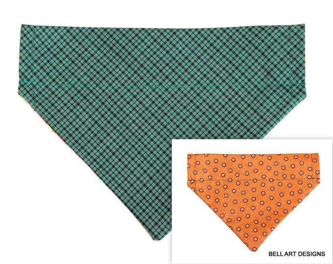DOG BANDANA ~ Over the Collar ~ Reversible ~ Plaid ~ Bell Art Designs ~ Small 391