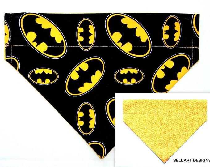 DOG BANDANA ~ Batman ~ Over the Collar ~ Reversible ~ Bell Art Designs ~ Medium ~ DCM0698