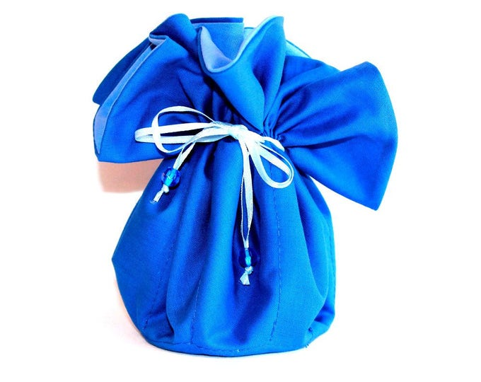 BLUE Fabric Jewelry Organizer ~ Pouch ~ Storage Case ~ Bag ~ Tote - Bell Art Designs ~ Large ~ JBLG0067