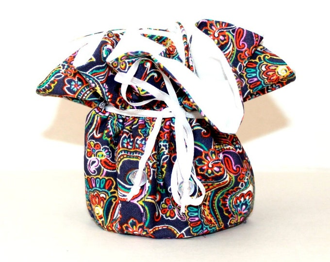 Purple Paisley, Fabric, Jewelry Organizer ~ Pouch ~ Storage Case ~ Bag ~ Tote - Bell Art Designs ~ Medium 445