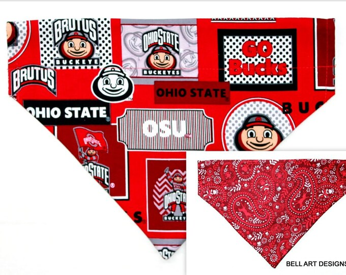 OHIO STATE ~ Over the Collar ~ Reversible ~ Dog Pet Bandana ~ Bell Art Designs ~ Large DCL714