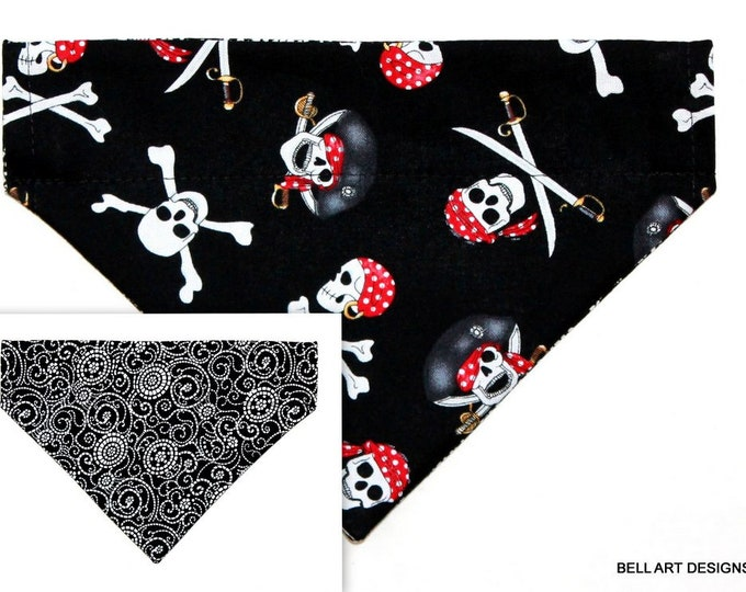 DOG BANDANA ~ Over the Collar ~ Reversible ~ Halloween, Pirates ~ Bell Art Designs ~ Small DCS610