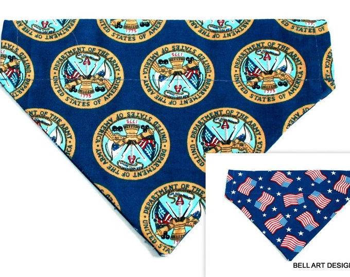 DOG BANDANA ~ Army, Flags ~ Over the Collar ~ Reversible ~ Bell Art Designs ~ Medium ~ DCM0311