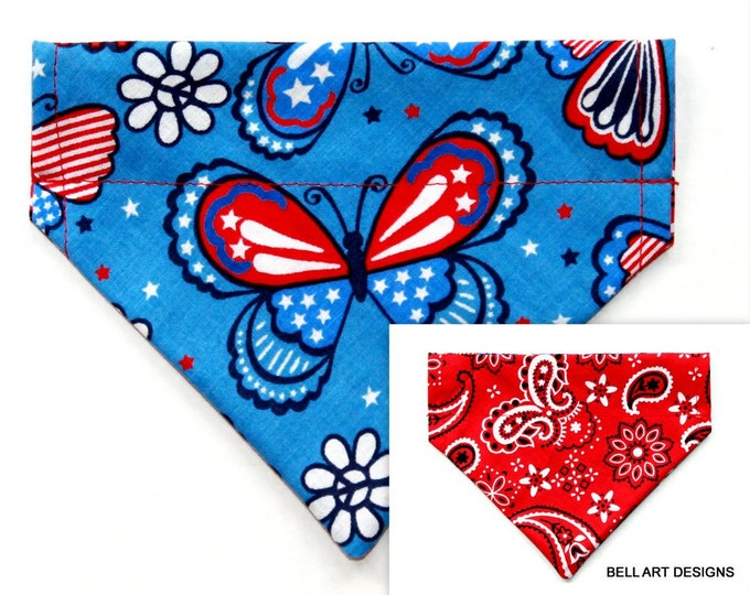 PATRIOTIC Butterflies and Paisley ~ Over the Collar ~ Reversible ~ Dog Pet Bandana ~ Bell Art Designs ~ Extra Small ~ DCXS0458