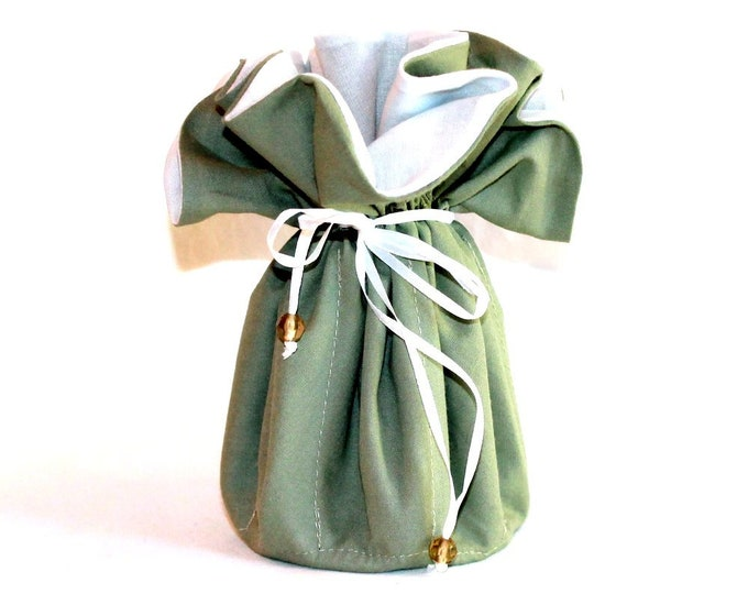 Moss Green, Fabric, Jewelry Organizer ~ Pouch ~ Storage Case ~ Bag ~ Tote - Bell Art Designs ~ Large ~ 74