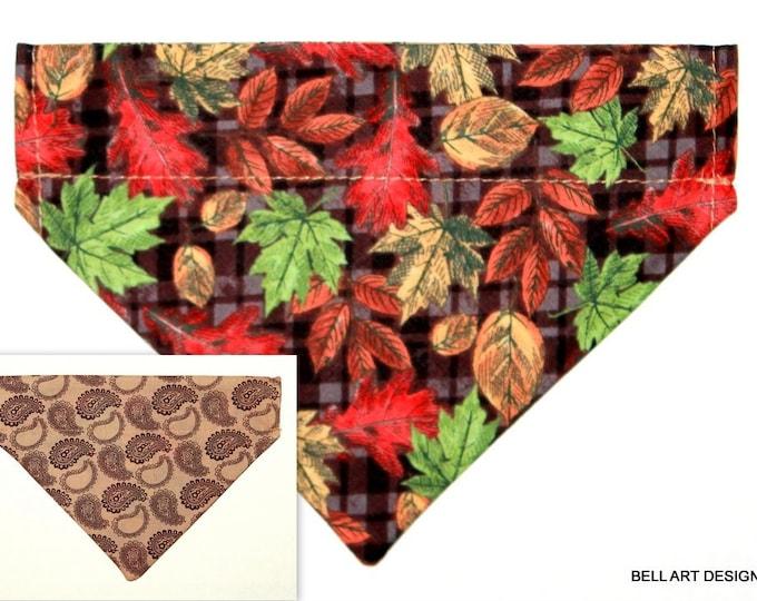 Fall, Leaves ~ Dog Bandana ~ Over the Collar ~ Reversible ~ Bell Art Designs ~ Small DCS639