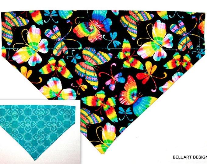 DOG BANDANA ~ Butterflies ~ Over the Collar ~ Reversible ~ Bell Art Designs, Medium, DCM0779