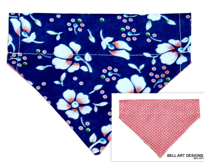 DOG BANDANA ~ Over the Collar ~ Reversible ~ Blue Floral ~ Bell Art Designs ~ Small 672