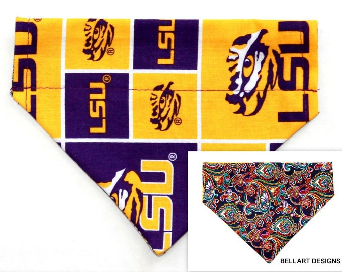 LSU, Louisiana ~ Over the Collar ~ Reversible ~ Dog Pet Bandana ~ Bell Art Designs ~ Extra Small ~ DCXS0490