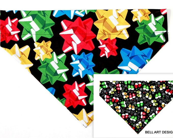DOG BANDANA ~ Christmas, Bows, Mittens ~ Over the Collar ~ Reversible ~ Bell Art Designs - Extra Large DCXL0231