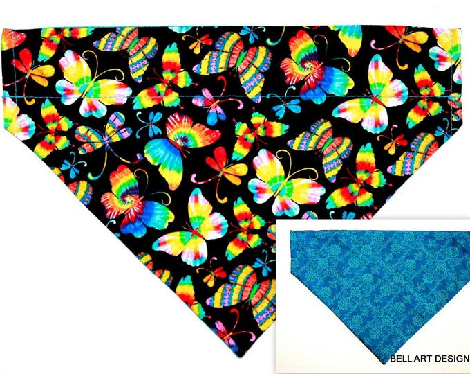 BUTTERFLIES, Butterfly ~ Over the Collar ~ Reversible ~ Dog Pet Bandana ~ Bell Art Designs ~ Large ~ DCL0751