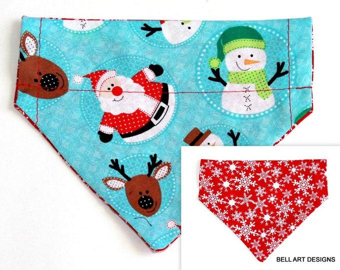 CHRISTMAS ~ Santa ~ Snowflakes ~ Over the Collar ~ Reversible ~ Dog Pet Bandana ~ Bell Art Designs ~ Extra Small ~ DCXS0291