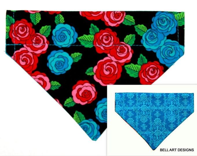 Floral ~ Over the Collar ~ Dog Bandana ~ Reversible ~ Bell Art Designs ~ Small DCS644