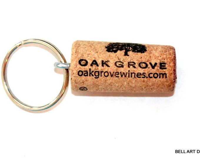 OAK GROVE, Wine Cork Keychain, Floating Keychain, Bell Art Designs, 305/306