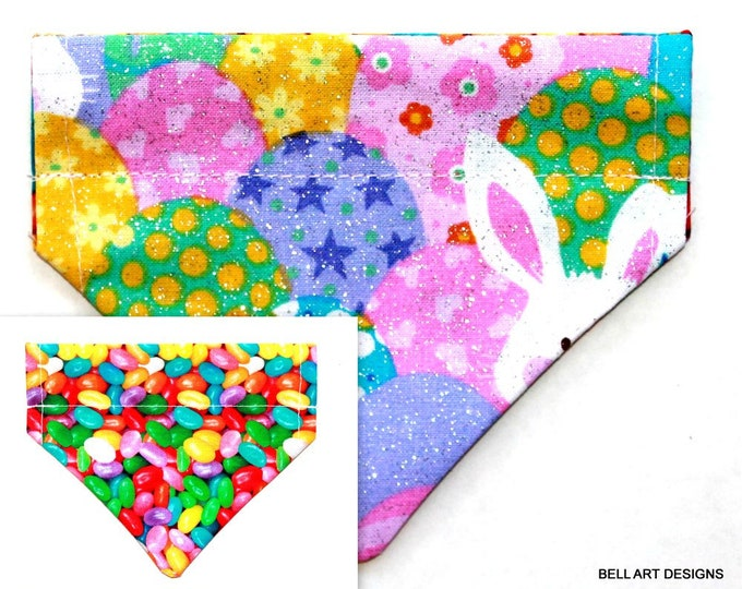 EASTER, Eggs, Jelly Beans, Over the Collar ~ Reversible ~ Dog Pet Bandana ~ Bell Art Designs ~ Extra Extra Small DCXXS174