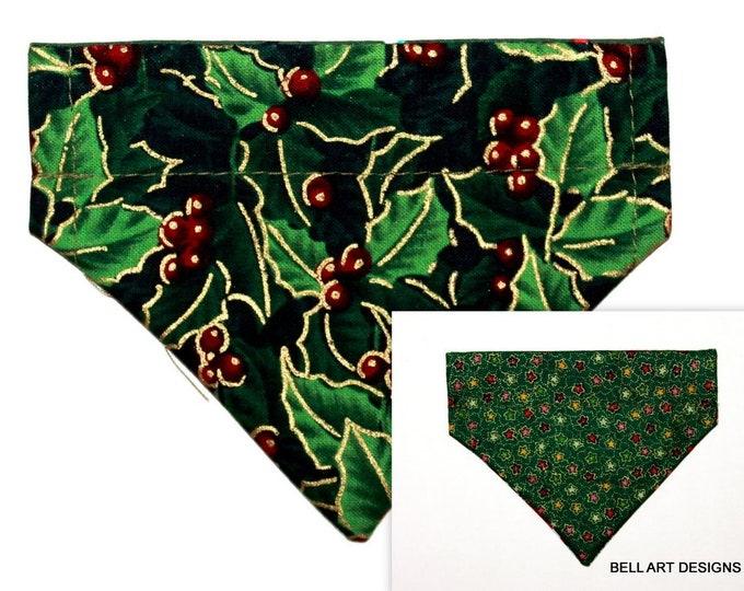 CHRISTMAS HOLLY ~ Over the Collar ~ Reversible ~ Dog Pet Bandana ~ Bell Art Designs ~ Extra Extra Small DCXXS158