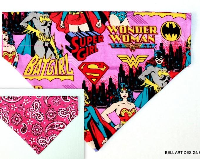 DOG BANDANA ~ Batgirl, Wonder Woman, Super Girl and Paisley ~ Over the Collar ~ Reversible ~ Bell Art Designs ~ Medium ~ DCM0713
