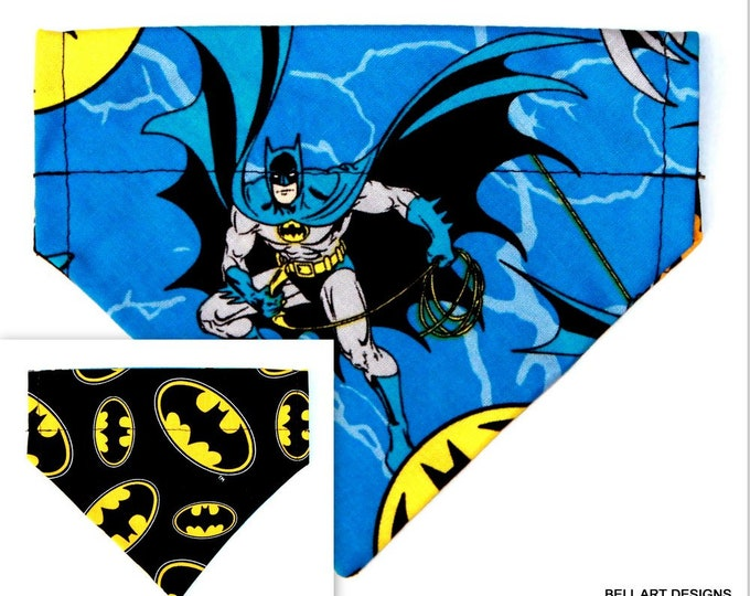 BATMAN ~ Over the Collar ~ Reversible ~ Dog Pet Bandana ~ Bell Art Designs ~ Extra Small ~ DCXS0470