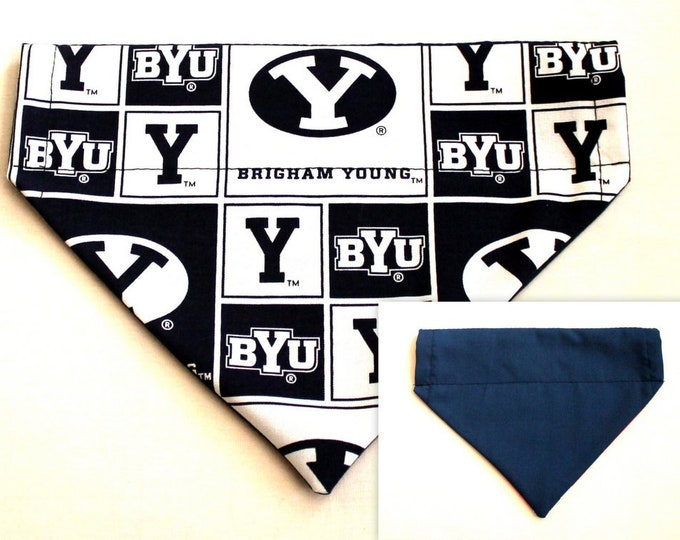 Dog Bandana ~ BRIGHAM YOUNG ~ Over the Collar ~ Reversible ~ Bell Art Designs Medium, DCM0215