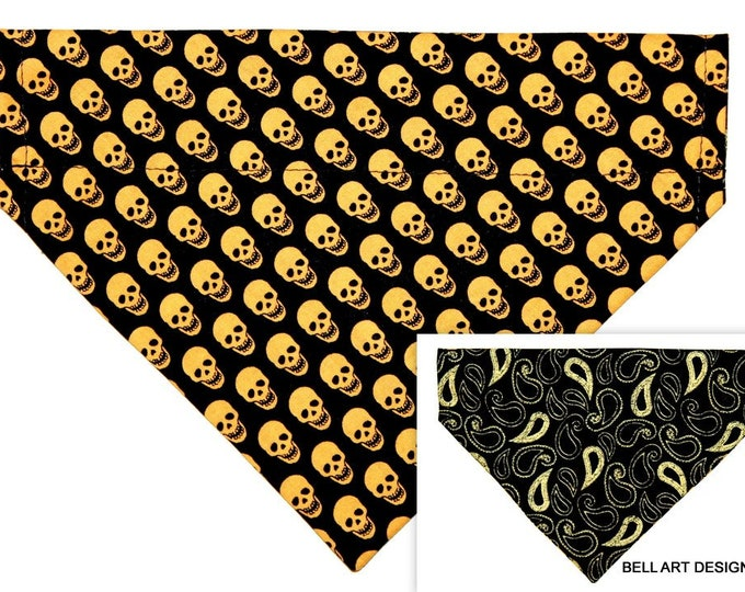 DOG BANDANA ~ Gold Skulls ~ Over the Collar ~ Reversible ~ Bell Art Designs ~ Medium ~ DCM0727