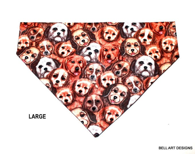 DOG FACES ~ Over the Collar ~ Reversible ~ Dog Pet Bandana ~ Bell Art Designs