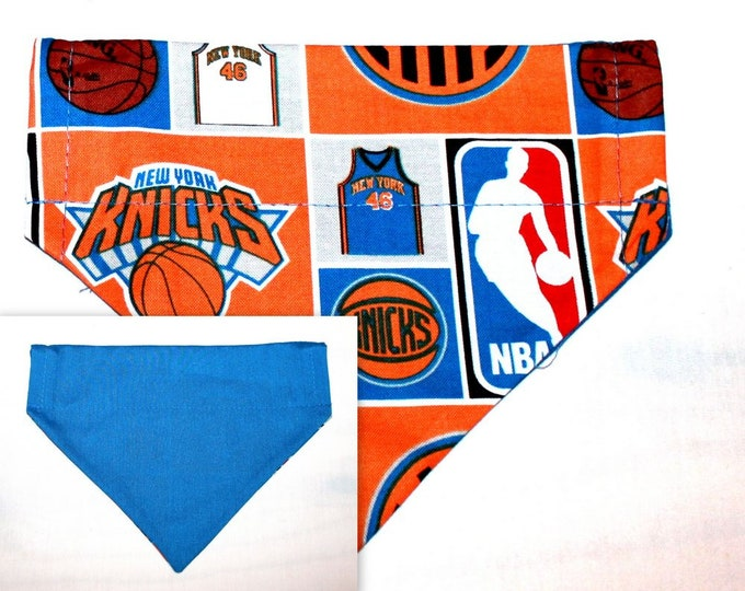 NEW YORK KNICKS ~ Over the Collar ~ Dog Bandana ~ Reversible ~ Bell Art Designs ~ Small DCS303