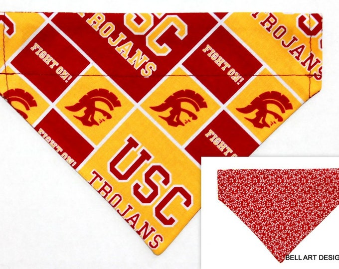 DOG BANDANA ~ Over the Collar ~ Reversible ~ USC, Southern California ~ Bell Art Designs ~ Small DCS599