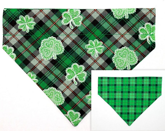 DOG BANDANA ~ Over the Collar ~ Reversible ~ Shamrocks, Irish ~ Bell Art Designs ~ Medium ~ DCM0654