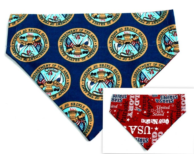 DOG BANDANA ~ Army, USA ~ Over the Collar ~ Reversible ~ Bell Art Designs Medium, DCM0307
