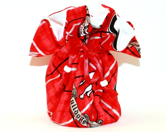 GEORGIA BULLDOGS Fabric Jewelry Organizer ~ Pouch ~ Storage Case ~ Bag ~ Tote - Bell Art Designs ~ Large ~ JBLG0056