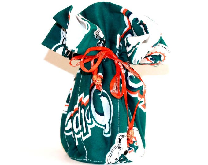 MIAMI DOLPHINS  Fabric Jewelry Organizer ~ Pouch ~ Storage Case ~ Bag ~ Tote - Bell Art Designs ~ Large ~ JBLG0061