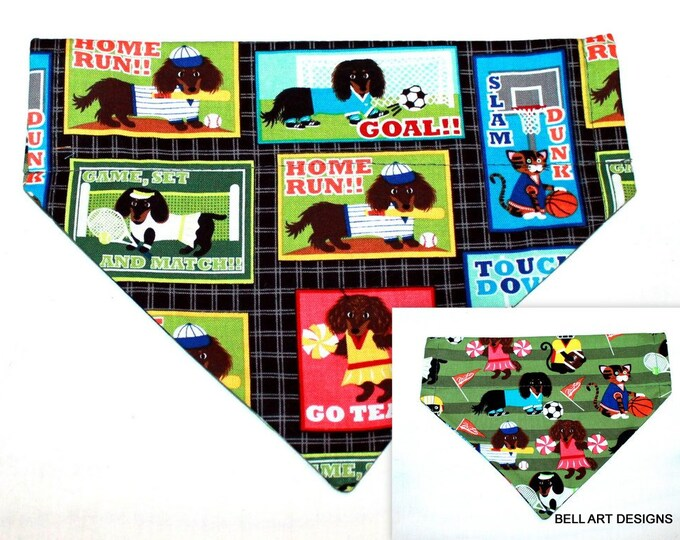 DOG BANDANA ~ Sports ~ Over the Collar ~ Reversible ~ Bell Art Designs, Medium, DCM0464